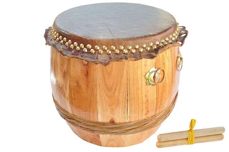 Lion Dance Large Drum (Southern Style), Natural Wood