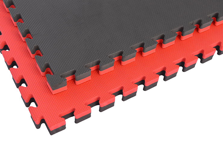 Tatami Puzzle, 4cm, Noir/Rouge, Motif en T, Polyvalent
