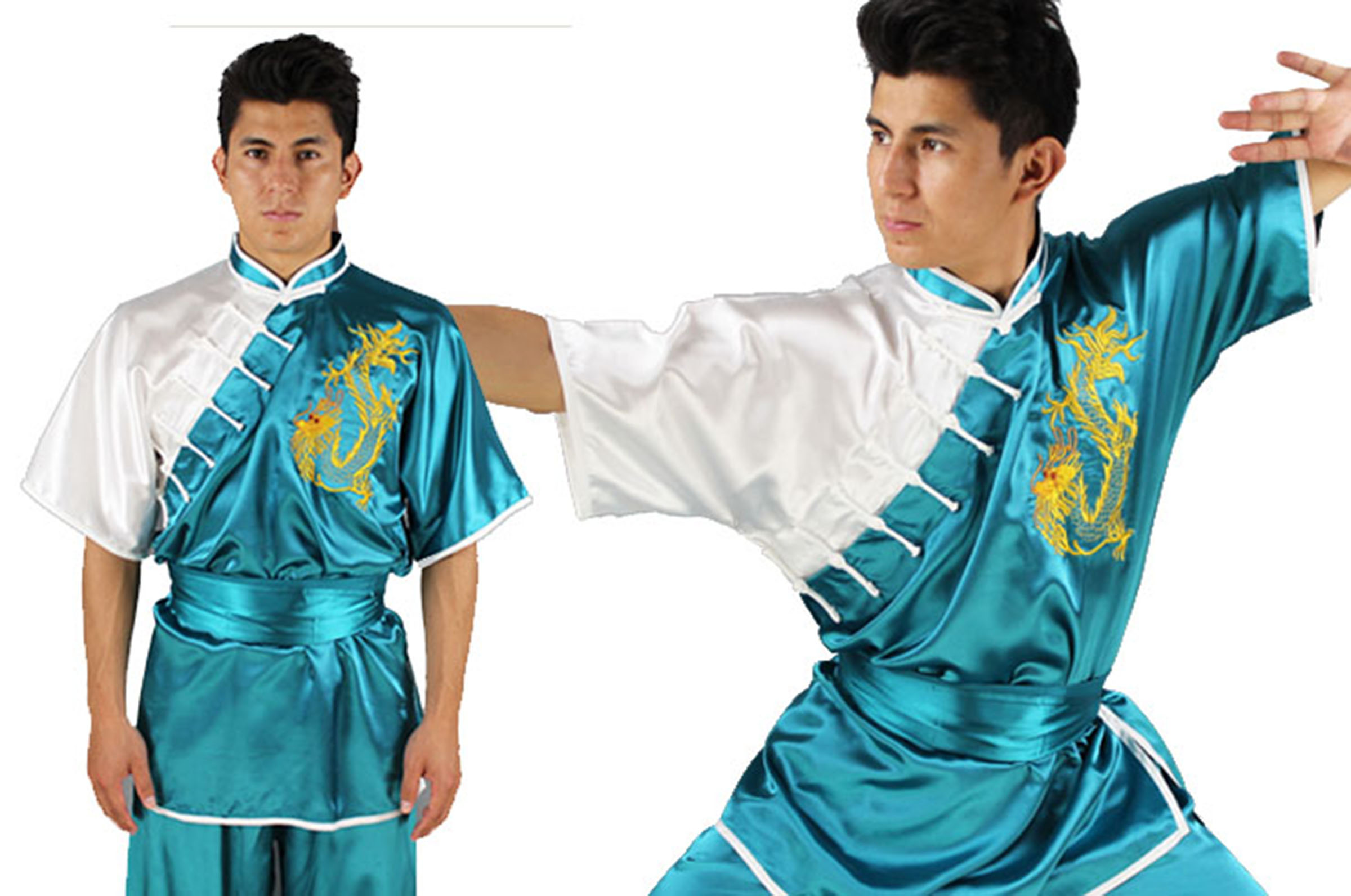 Sporting Goods Uniforme Kimono Kung Fu Chang Quan Shan Xi Amarillo Drago Bordado Other Combat Sport Supplies