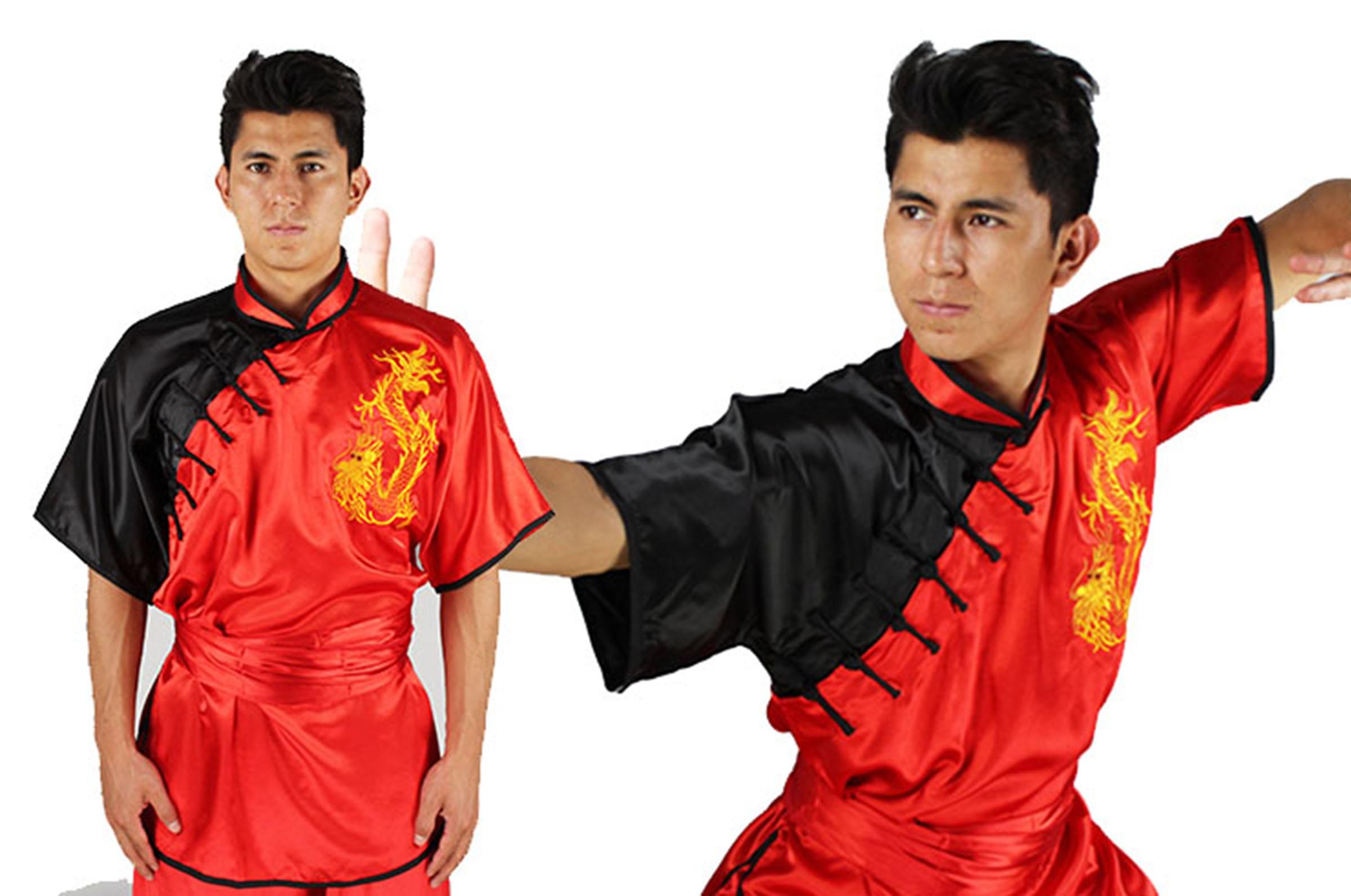 Uniforme Kimono Kung Fu Chang Quan Shan Xi Amarillo Drago Bordado Other Combat Sport Supplies