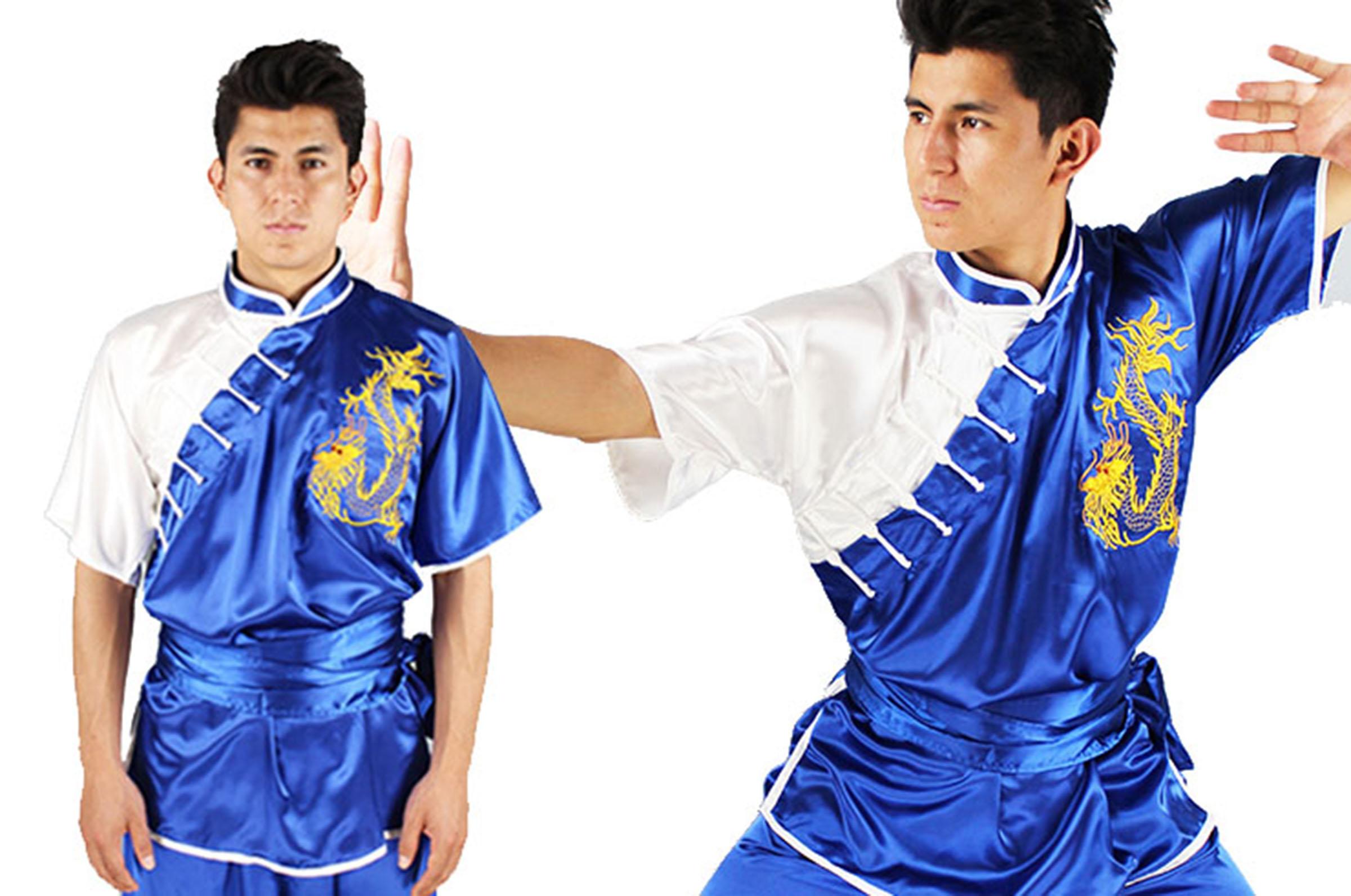 Sporting Goods Uniforme Kimono Kung Fu Chang Quan Shan Xi Amarillo Drago Bordado