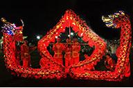Dragon lumineux rouge et or, 7 personnes