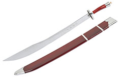 Kungfu Training Broadsword With Scabbard, Red/Silver - Flexible