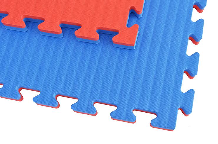 Tatami Puzzle, 2,5cm, Bleu/Rouge, Motif Paille de Riz, travail au sol