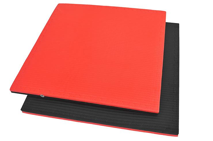 Tatami Puzzle, 4cm, Noir/Rouge, Motif Paille de Riz, Travail au sol