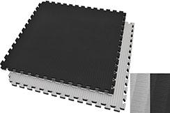 Tatami Puzzle, 4cm, Noir/Gris, Motif Paille de Riz, Travail au sol