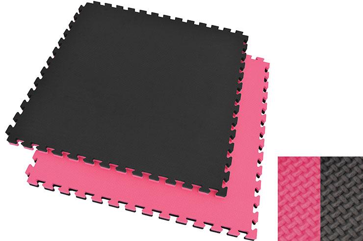 Tatami Puzzle, 4cm, Noir/Rose, Motif en T, Polyvalent