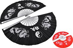 Double Tai Chi Fan, Dragons - Aluminium