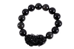 Bracelet Obsidienne, Perla Pixiu - Pierre 14 mm