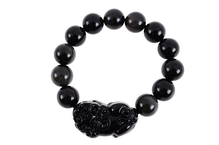 Obsidian Bracelet, Perla Pixiu - Stone 14 mm