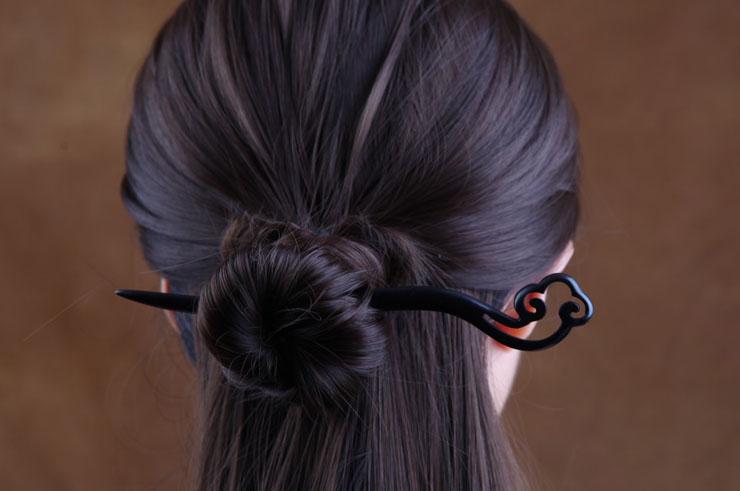 Palillos para el cabello, Nube - Madera tallada