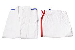 [Destock] Kimono Karaté bandes bleu blanc rouge 170-175