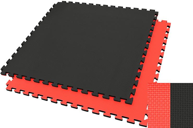 Tatami Puzzle 2 cm, Noir/Rouge, Motif en T (Polyvalent) - Haut de Gamme