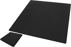 Tatamis Puzzle 1 cm, Noir/Noir, Motif T (60 x 60 cm) - Lot de 4