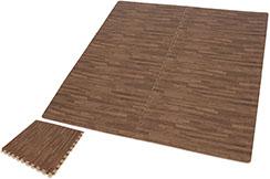 Tatamis Puzzle 1 cm, Bois Foncé (60 x 60 cm) - Lot de 4