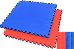 Tatami Puzzle 4 cm, Bleu/Rouge, Motif Paille de Riz - Haut de Gamme