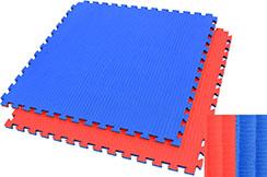 Tatami Puzzle 2,5 cm, Bleu/Rouge, Motif Paille de Riz - Haut de Gamme