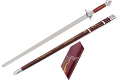 Épée Avec Fourreau Rouge/Argent - Semi-Flexible (fourreau légèrement abimé)