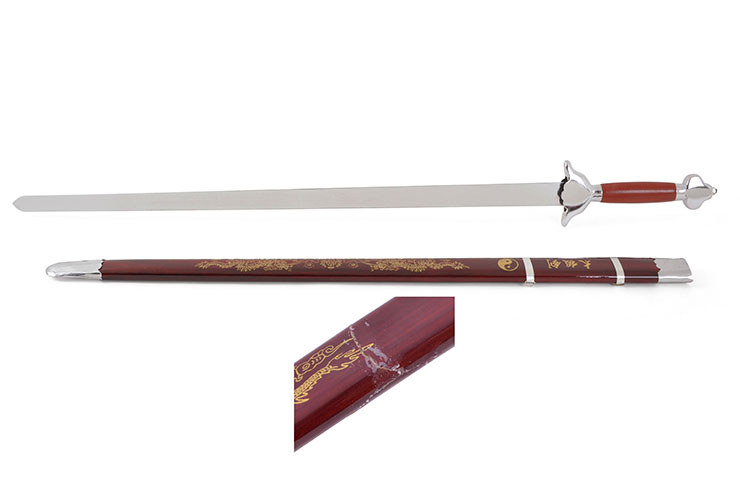 Straightsword With Scabbard, Red/Silver - Semi-Flexible (slightly damaged scabbard)