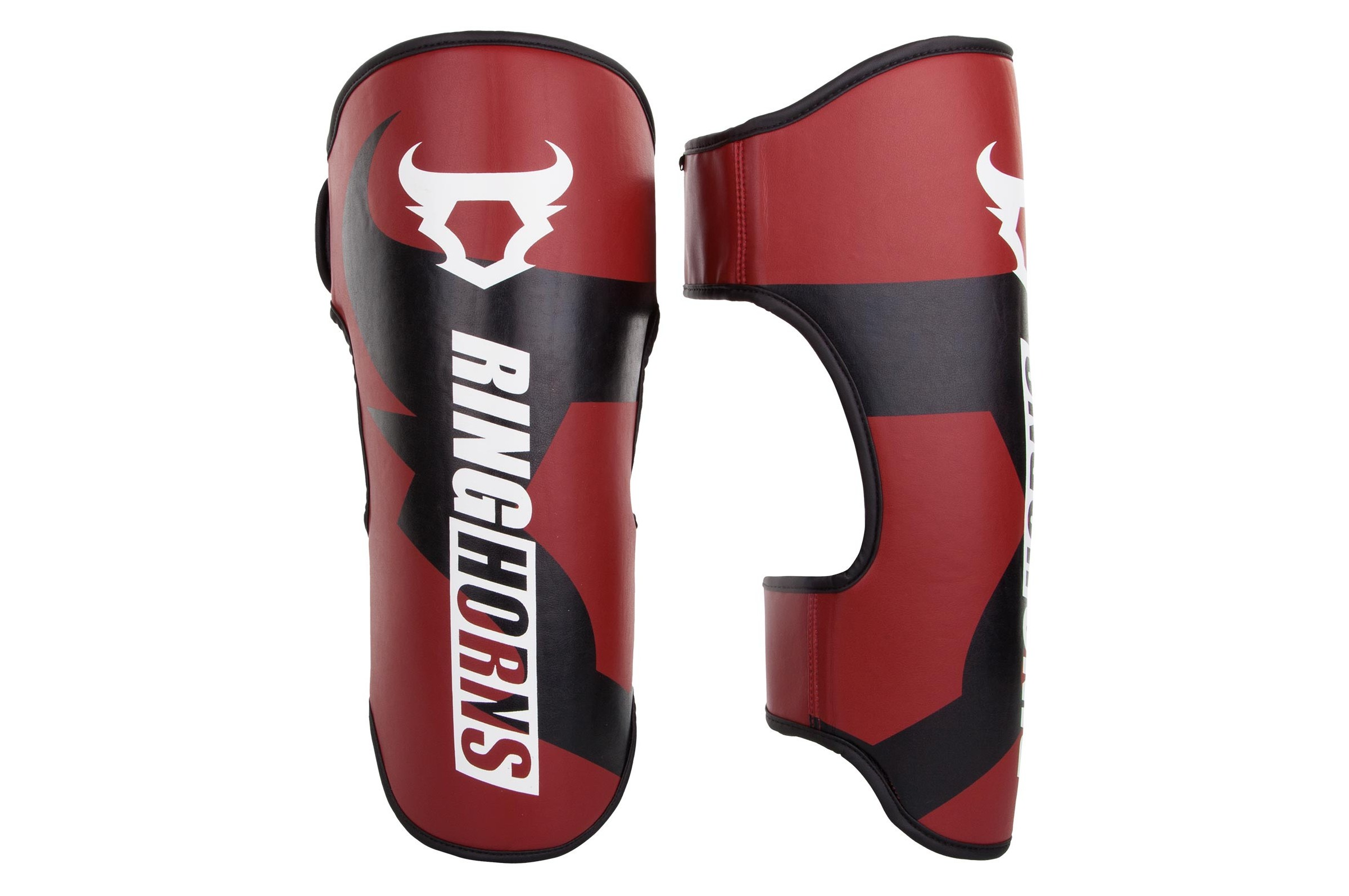 Red /& Black Ring Horns Charger Shin Guards