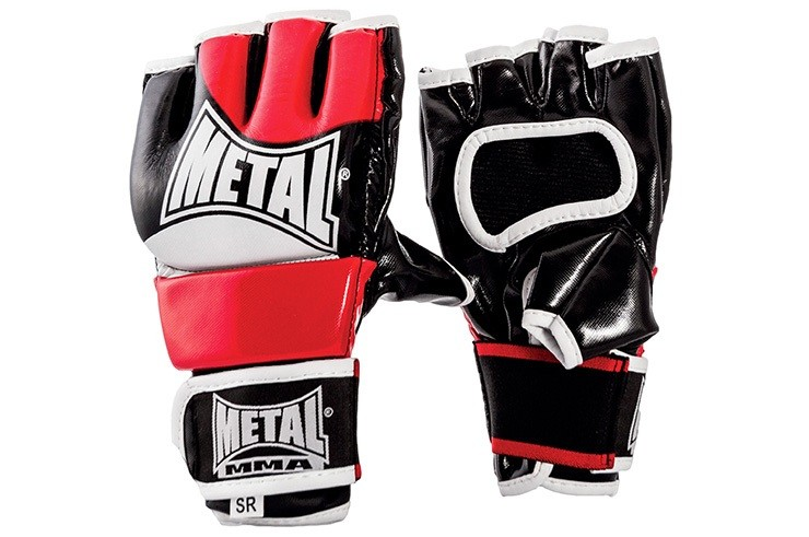 [Destock] Free Fight Training Gloves, Black & White & Red - MB140EJR, Metal Boxing