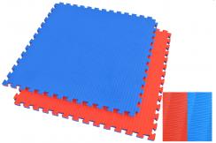 Tatami Puzzle 4 cm, Bleu/Rouge, Motif Paille de Riz (travail au sol)