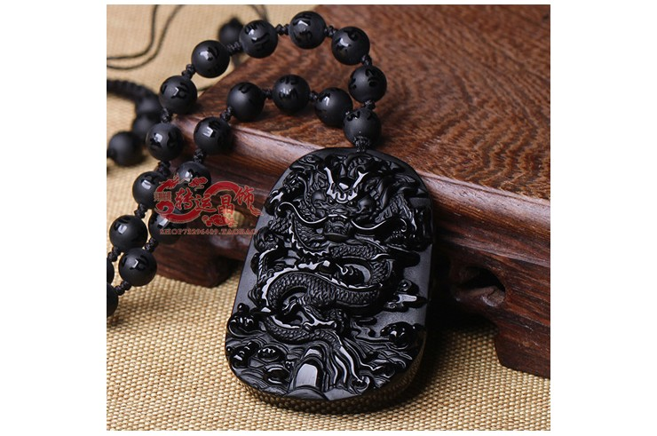Collier Obsidienne, Gravure Dragon - Perles 8 mm
